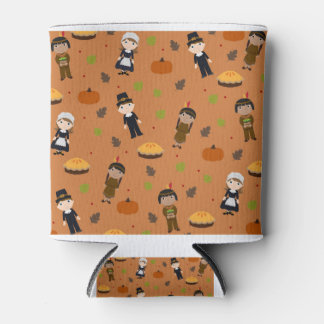 Pilgrims and Indians pattern - Thanksgiving Can Cooler
