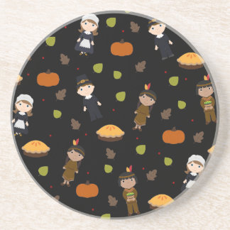 Pilgrims and Indians pattern - Thanksgiving Coaster