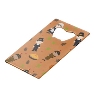 Pilgrims and Indians pattern - Thanksgiving Credit Card Bottle Opener