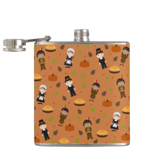 Pilgrims and Indians pattern - Thanksgiving Hip Flask