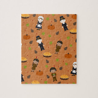 Pilgrims and Indians pattern - Thanksgiving Jigsaw Puzzle