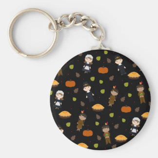 Pilgrims and Indians pattern - Thanksgiving Keychain