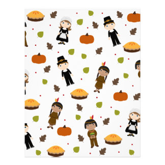 Pilgrims and Indians pattern - Thanksgiving Letterhead
