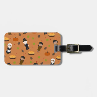 Pilgrims and Indians pattern - Thanksgiving Luggage Tag