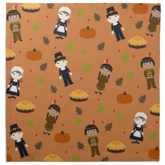 Pilgrims and Indians pattern - Thanksgiving Napkin