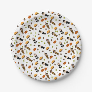 Pilgrims and Indians pattern - Thanksgiving Paper Plate