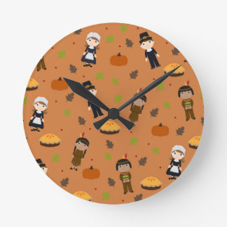 Pilgrims and Indians pattern - Thanksgiving Round Clock