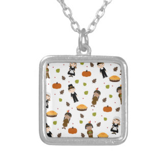 Pilgrims and Indians pattern - Thanksgiving Silver Plated Necklace
