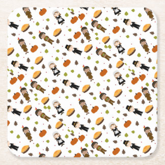 Pilgrims and Indians pattern - Thanksgiving Square Paper Coaster