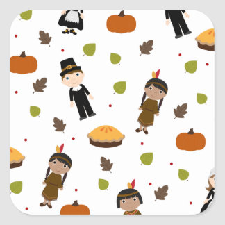 Pilgrims and Indians pattern - Thanksgiving Square Sticker