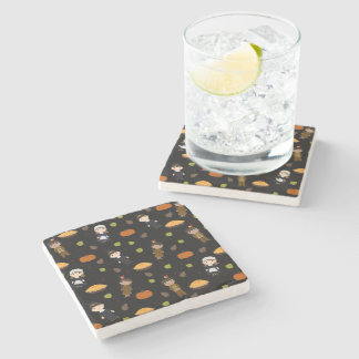 Pilgrims and Indians pattern - Thanksgiving Stone Coaster