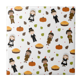 Pilgrims and Indians pattern - Thanksgiving Tile