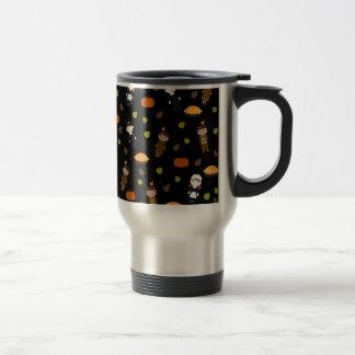 Pilgrims and Indians pattern - Thanksgiving Travel Mug