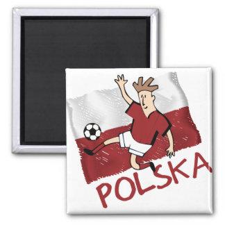 Pilka du football du football de Polska Pologne Magnet Carré