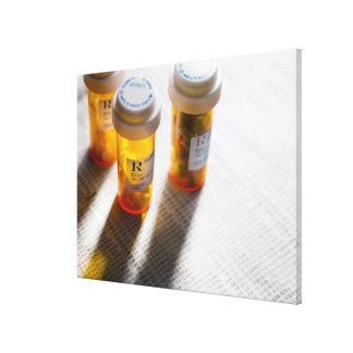 Pill bottles on stock page stretched canvas prints
