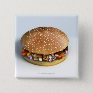 Pill Burger 2 Inch Square Button