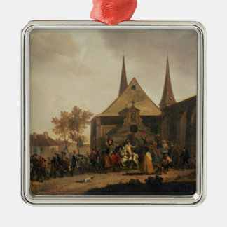 Pillage of a Church during the Revolution Silver-Colored Square Ornament