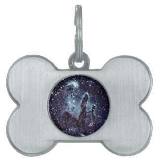 Pillars of Creation Nebula Blue Slate Pet Name Tag