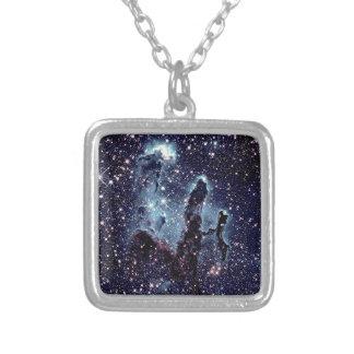 Pillars of Creation Nebula Blue Slate Silver Plated Necklace