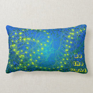 pillow-Designed cushion - blue and yellow/be light