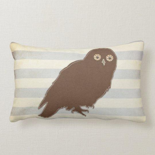 Pillow: Grey & Brown Owl Lumbar Pillow