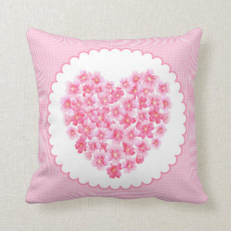 Pillow heart of pink flower