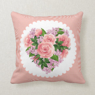 Pillow heart of pink roses & lilac flower