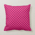 Pillow Hot Pink and Black Polka Dot