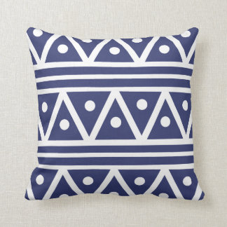 Pillow in Blue Satin Aztec Print
