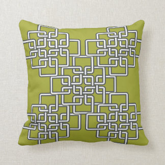 Pillow in Green Pear with Geometric Pattern