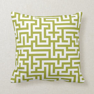 Pillow in Green Pear with Maze Pattern