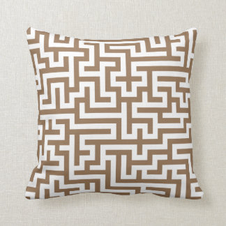 Pillow in Taupe Maze Pattern