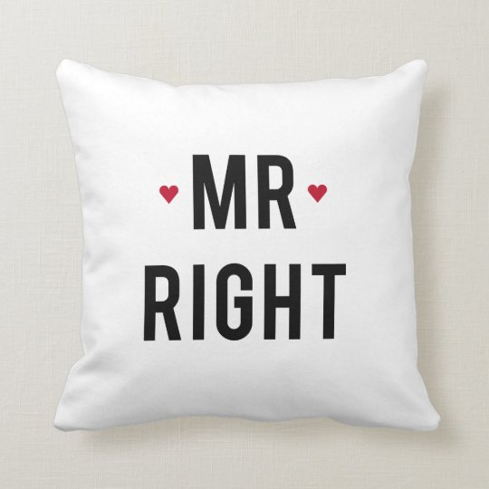 Pillow Mr. right text design with red hearts