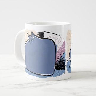 Pillow shaped violet cushion cat jumbo mug