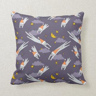Pillow: Sleeping kitties flying in the night skies Throw Pillow