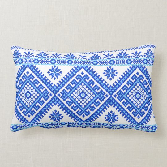 Pillow Ukrainian Cross Stitch Embroidery Blue