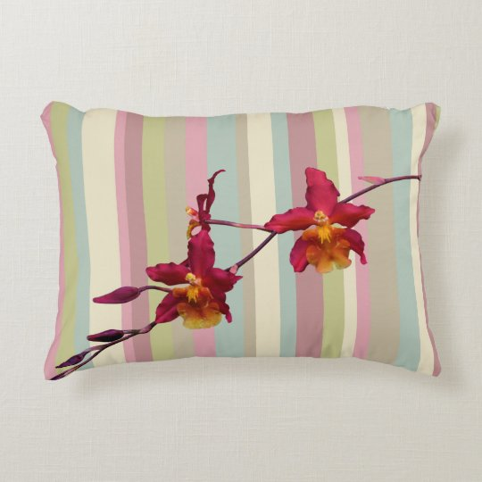 Pillow with a Spray of Cattleya Orchids