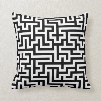 Pillow with Black Maze Pattern