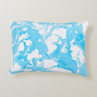 Pillow with cyan marble texture.
