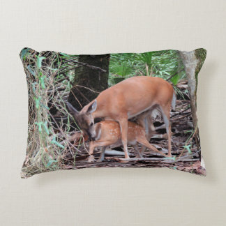 Pillow with Doe Feeding her Fawn