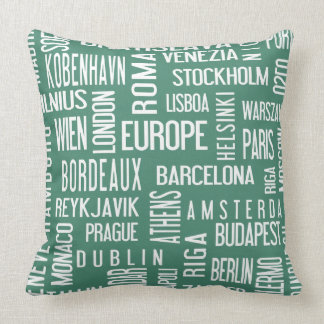 Pillow with european cities, turquise