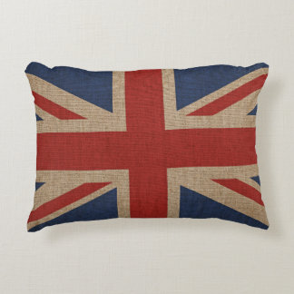 Pillow with Great Britain flag on brown canvas