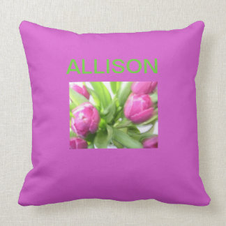 PILLOW WITH PINK TULIPS