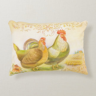 Pillow with rooster and hen in Italian countryside