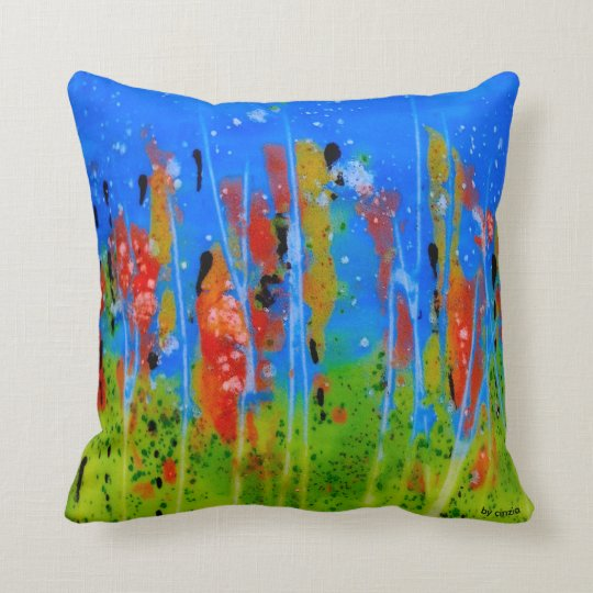 Pillow with splashed-colours