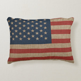 Pillow with USA flag on brown canvas