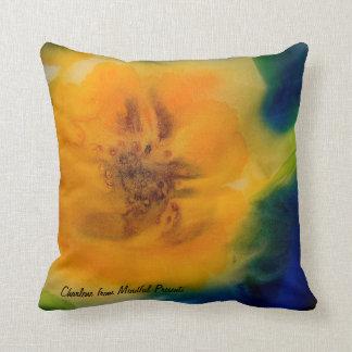 Pillow: Yellow Sunflowers on a rich blue backgroun Throw Pillow