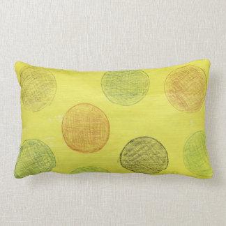 Pillow, yellow with polka dots. lumbar pillow