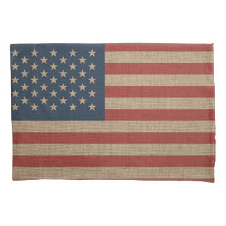Pillowcase, Standard, with USA flag over canvas Pillowcase