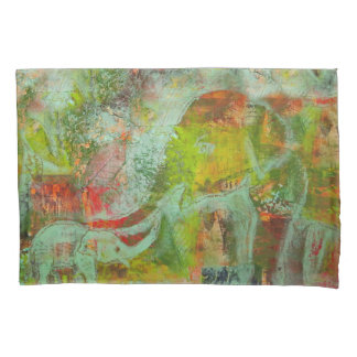 Pillowcase with colourful elephant design